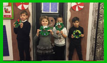 Students and their Christmas wreaths